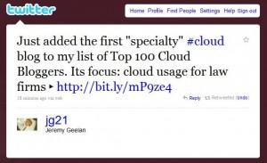 Jeremy Cloud Expo Tweet re LawCloud